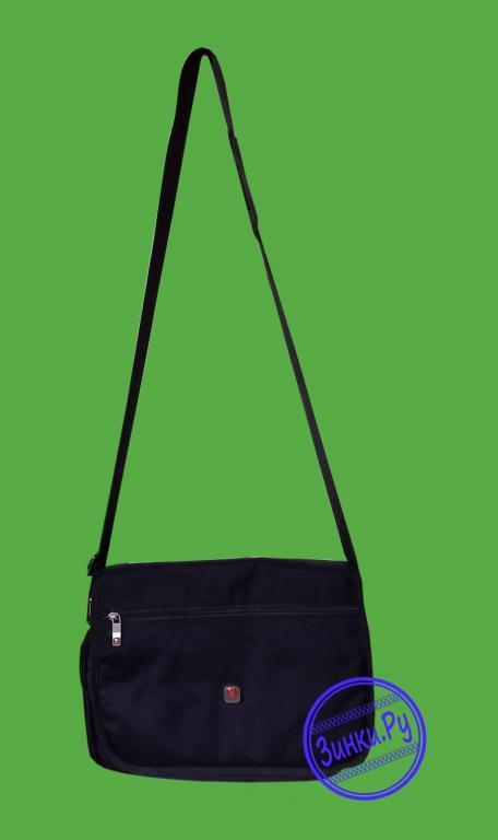 Наплечная сумка кросс-боди черная из полиэстера. Москва