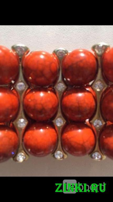 Браслет новый бижутерия оранжевый натуральный камн. Москва. Фото - 2