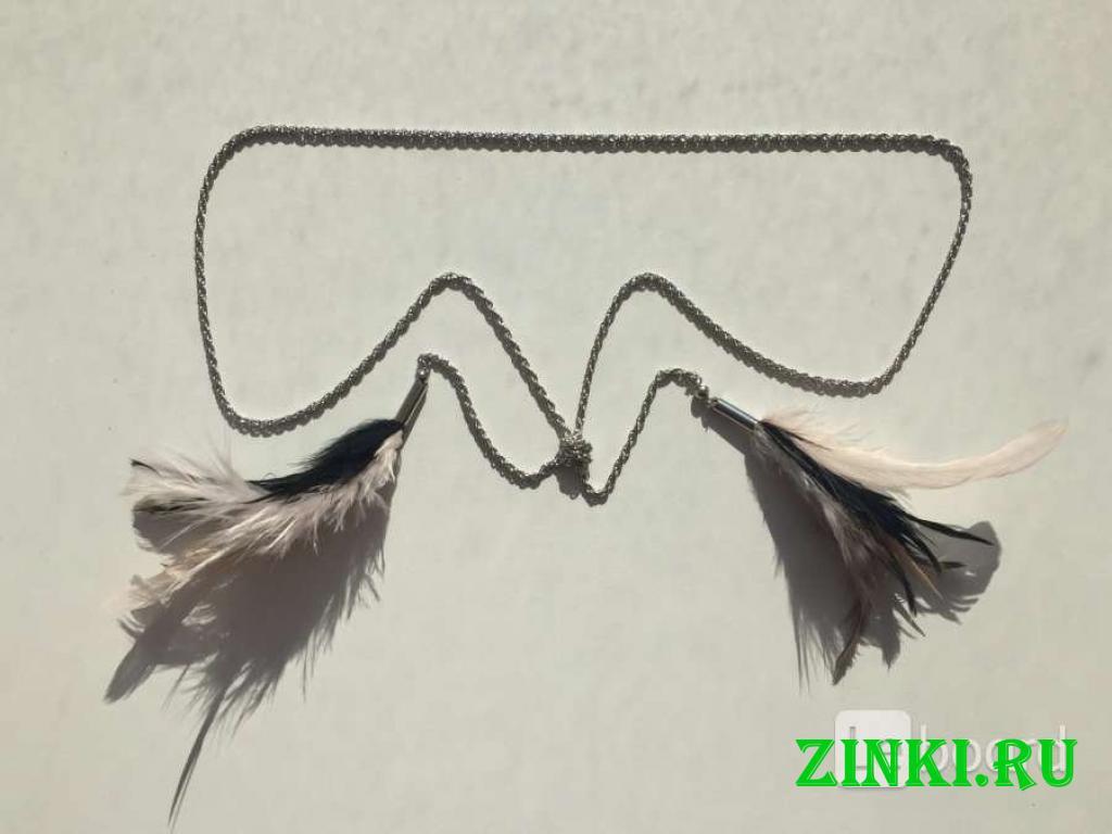 Колье цепочка цепь бижутерия украшение перья чёрны. Москва