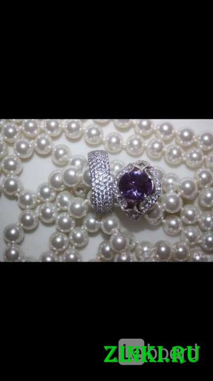 Кольцо новое серебро 19 размер камень аметист фиол. Москва. Фото - 2