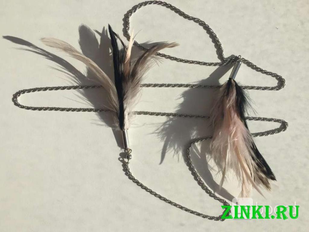 Колье цепочка цепь бижутерия украшение перья чёрны. Москва. Фото - 3