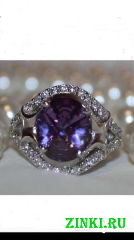 Кольцо новое серебро 19 размер камень аметист фиол. Москва