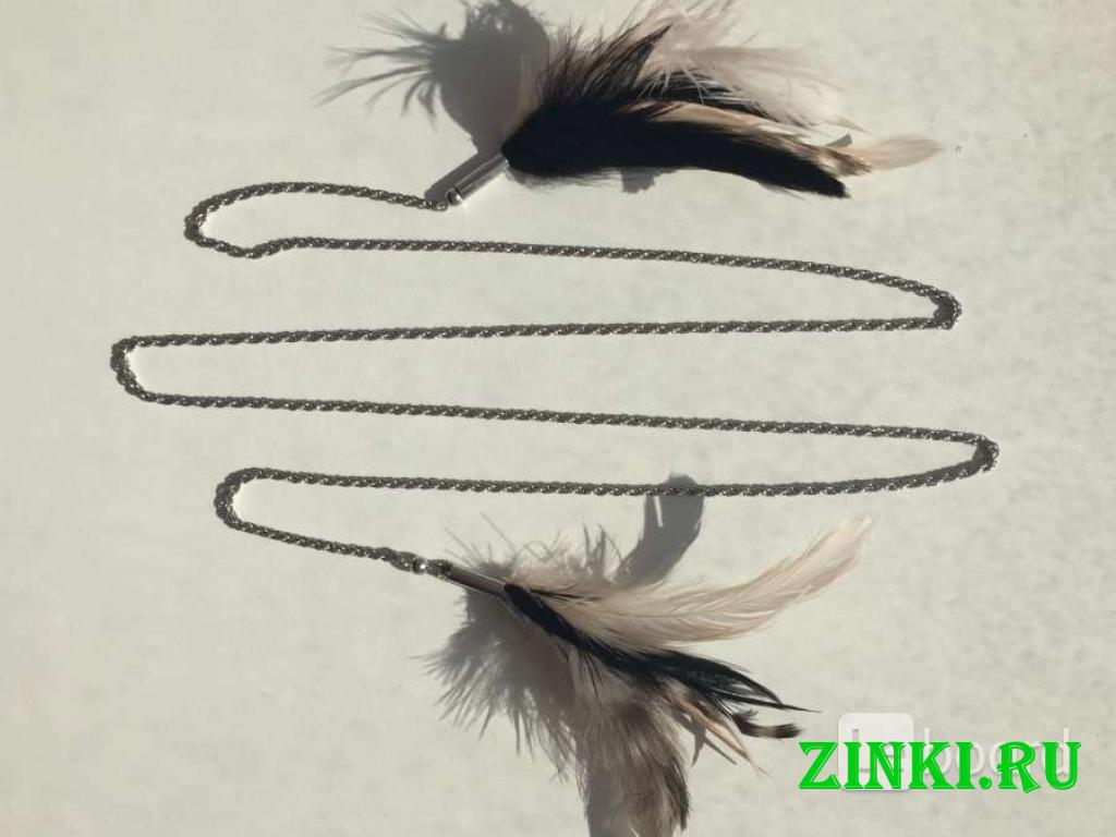 Колье цепочка цепь бижутерия украшение перья чёрны. Москва. Фото - 5