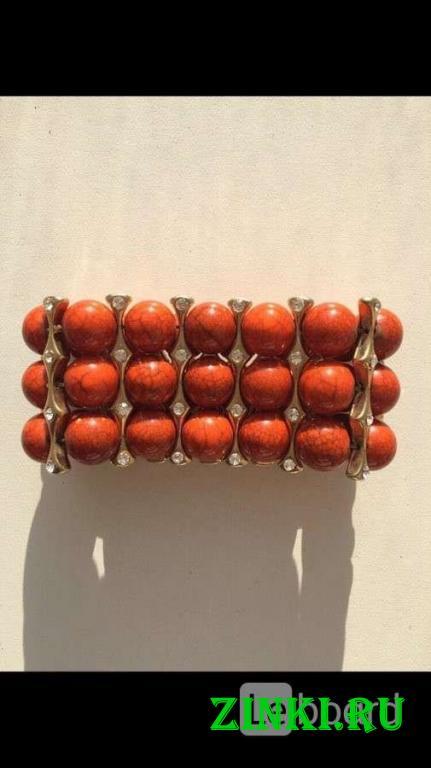 Браслет новый бижутерия оранжевый натуральный камн. Москва