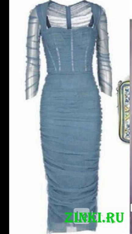 Платье новое dolce&gabbana италия s 42 серое сетка. Москва. Фото - 3
