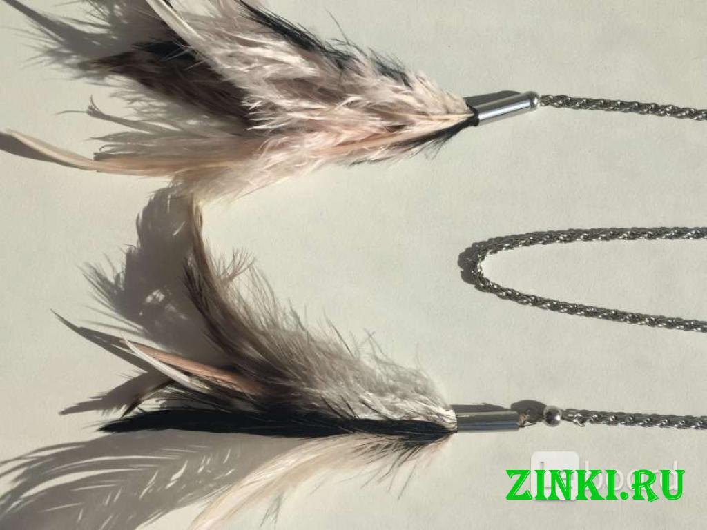 Колье цепочка цепь бижутерия украшение перья чёрны. Москва. Фото - 2